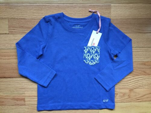 NWT Vineyard Vines Girls L//S Pocket Scallop Feather Marlin T-Shirt