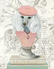 POODLE FRENCH WHITE DOG PRINT ART POSTER - Canine Couture Newsprint IV