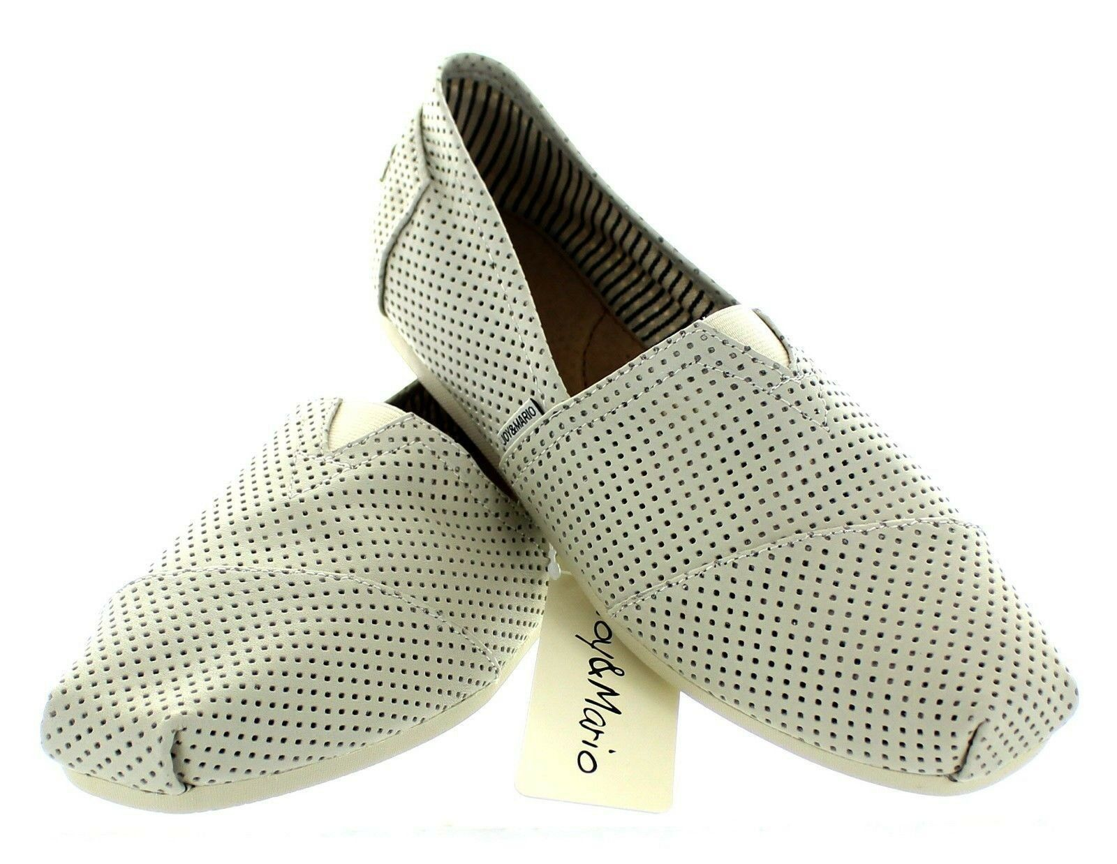 219dd216cb47fd Joy & Mario homme en cuir alpargatas Slip-On Mocassin Espadrille Plates  Chaussures Blanc