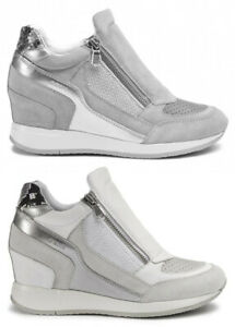 GEOX-NYDAME-D620QA-scarpe-donna-sneakers-pelle-camoscio-tessuto-casual-zeppa
