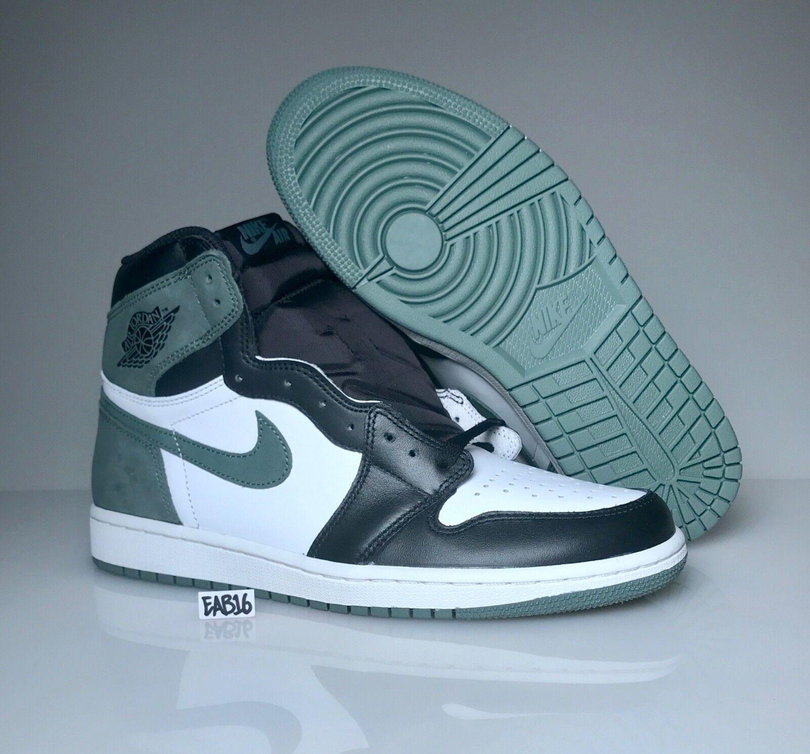 Nike Air Jordan Retro 1 OG Clay Green 555088 135 White Black Best Hand In Game