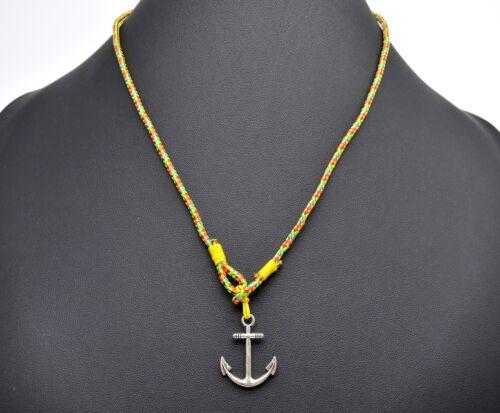 BC793F Jaune//Multi//Arg Bracelet Mixte 3 Tours Cordon Ancre Marine Métal Mode