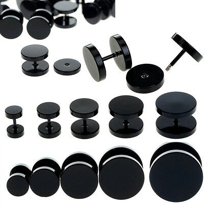 10pcs Black Stainless Steel Fake Cheater Ear Plugs Gauge Body Jewelry Pierceing
