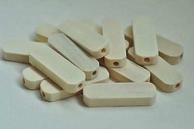 20pcs Natural Wood Bead Oval Rectangular Wooden Unfinished Craft Accessory 1MT96