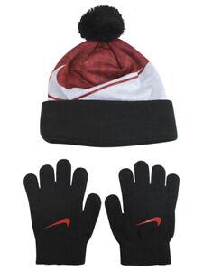 Nike-Little-Boy-039-s-2-Piece-Swoosh-University-Red-Pom-Hat-amp-Gloves-Set-Sz-4-7
