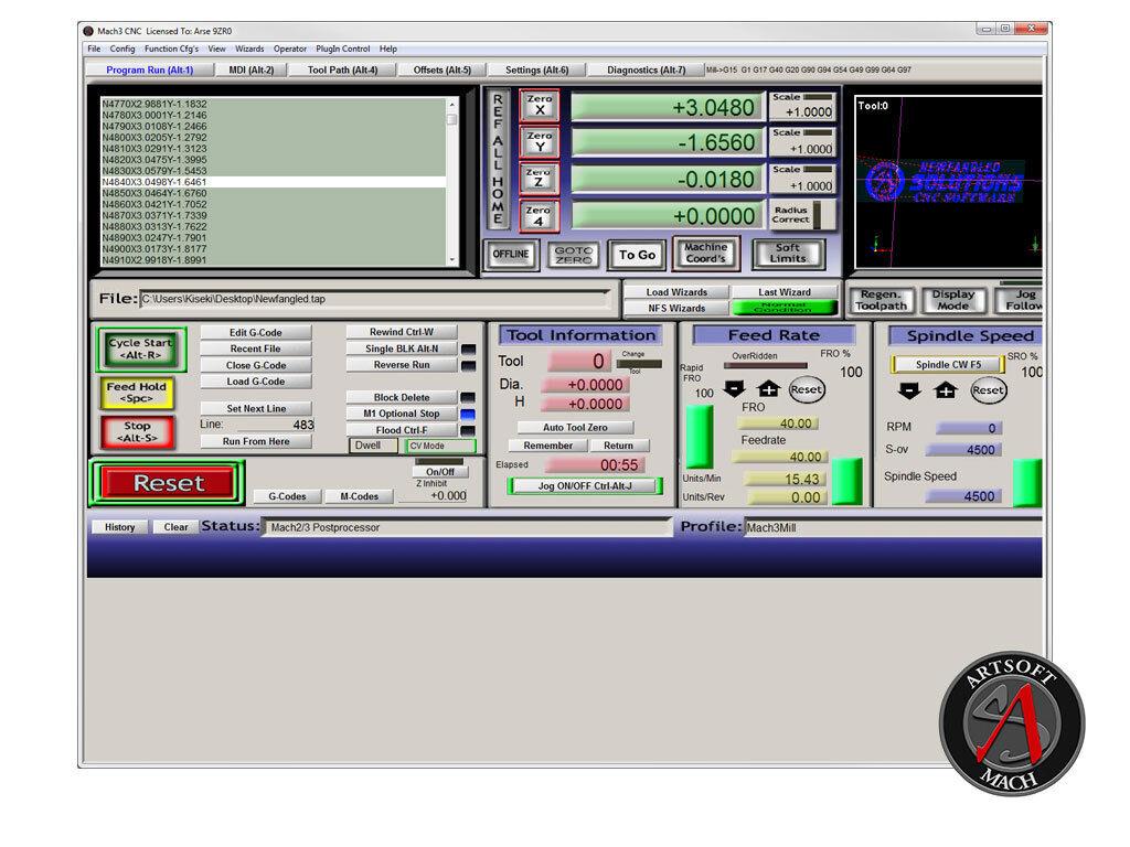 MACH3 License file + Sherline Setup files