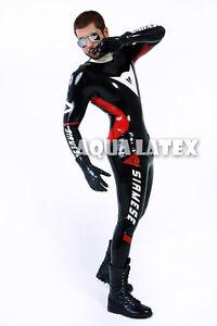 custom moto suit man rubber bodysuit latex costume catsuit fantastic design ebay. Black Bedroom Furniture Sets. Home Design Ideas