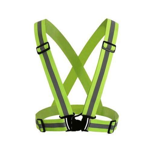 Hi-Vis Outdoor Safety Neon Reflective Vest Elastic Belt Adjustable Band