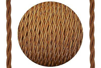 Textil-Kabel verseilt Leitung 3x0,75 whiskey-farbig Synthetik Lampenkabel D0712