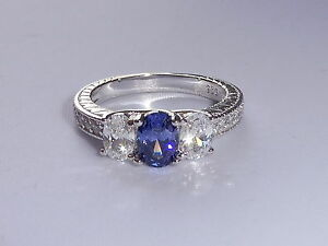 Ladies-Sterling-925-Silver-3-Stone-Tanzanite-and-White-Sapphire-Eternity-Ring