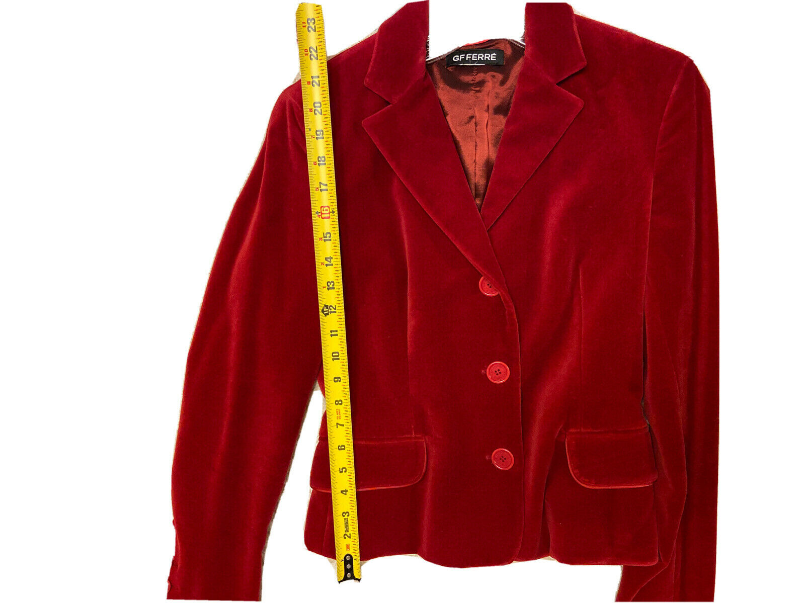 GF FERRE Vintage Red Velvet Velour Jacket Blazer … - image 8