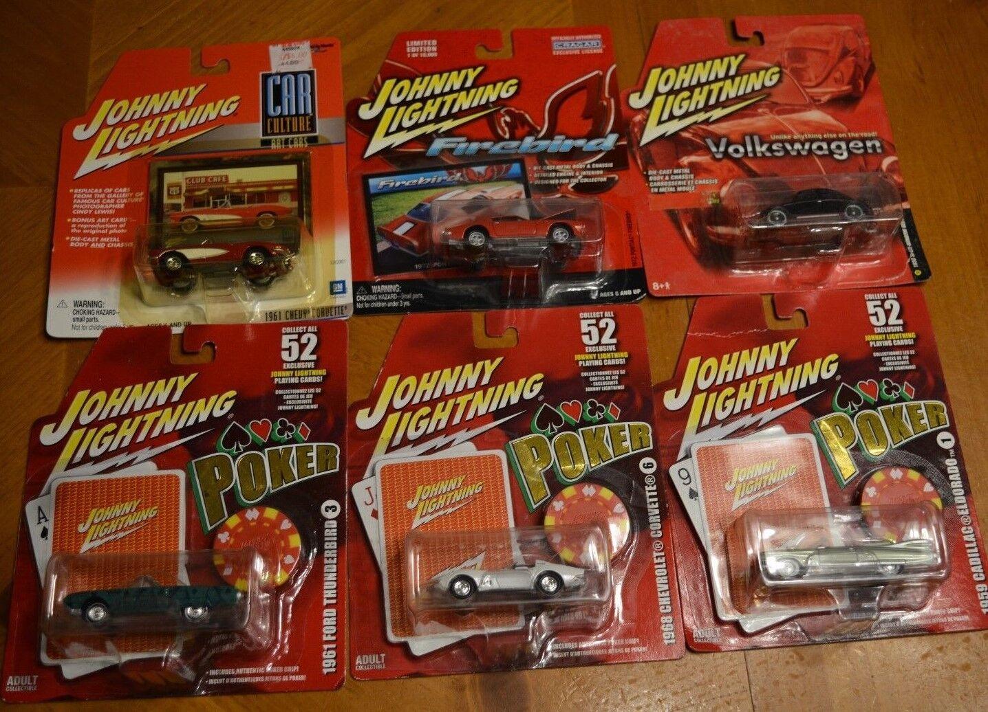 Johnny Lightning Deal ACHETEZ 5 OBTENEZ 1 GRATUIT  Poker, Firebird, CORVETTE, VW, Eldorado