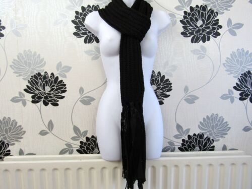 Job Lot 5-off Ladies Super Long Ribbed Knitted Scarf With Ribbon BNWT