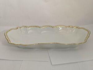 A-Alfred-Lanternier-Limoges-Gold-amp-White-Oblong-Shape-Celery-Dish