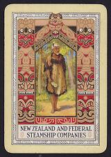 1 Single VINTAGE Playing/Swap Card OLD WIDE Shipping NZ & FEDERAL MAORI MAN B