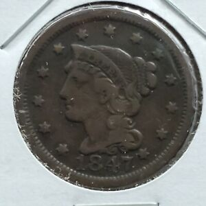 1847 Braided Classic Liberty Head US Large Cent 1c VF Very Fine Circulated
