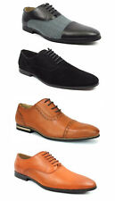 Mens Black Cognac Rust Dress Shoes Lace Up Oxfords Leather Lining Suede AZAR MAN