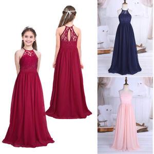 Das Bild wird geladen Kinder-Maedchen-Prinzessin-Chiffon-Kleid-Abendkleid -Armellos-Maxikleid- ae431da2c0