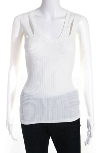 Jean Paul Gaultier Womens Ribbed Tank Top White Si