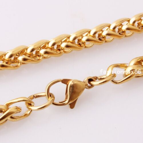"""Stainless Steel Mens Womens 3//4//5//6mm Gold Wheat Rope Necklace Chain 18/""""-36/"""""""