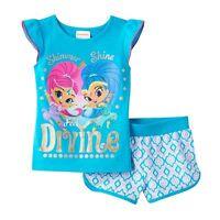 Shimmer & Shine divine Tee & Shorts Set Girls Size 4 Nickelodeon