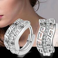 New Women's Silver Plated Shiny Crystal Rhinestone Ear Stud Dangle Earrings Gift