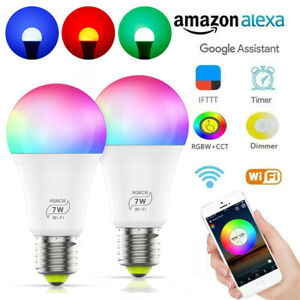 E27-RGBCW-Birne-WiFi-Lampe-Smart-LED-Gluehbirne-Birne-Fuer-Alexa-Google-Android