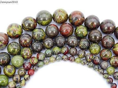 Natural Dragon Bloodstone Gemstone Round Spacer Beads 15.5'' 4mm 6mm 8mm