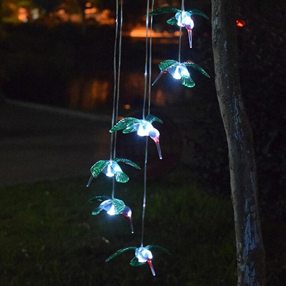 Hummingbird Hanging Lights LED Outdoor RGB Wind Chimes Solar Powered Lamp Garden