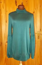 LILLI  teal blue-green long sleeve lace tunic top STEAMPUNK VICTORIANA 12 40
