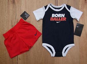 eb6b9679e Nike Baby Boy 2 Piece Bodysuit & Shorts Set ~ Navy Blue, Red & White ...