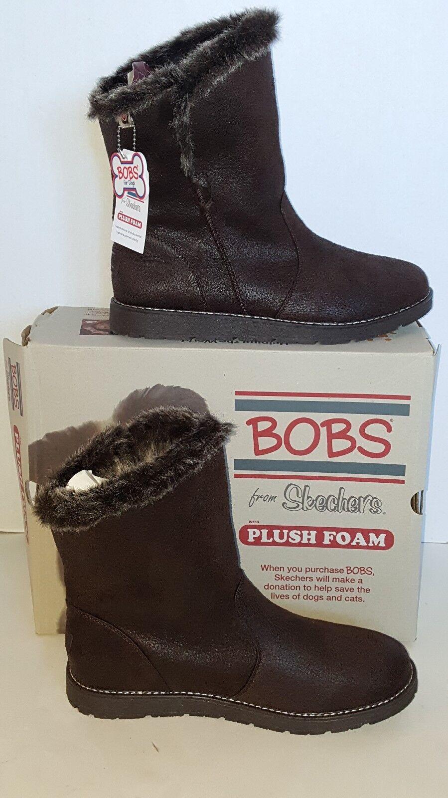 BOBS from Skechers Chocolate Alpine Puddle Jump Mid Calf Boot Sz Wm. 8.5M NIB