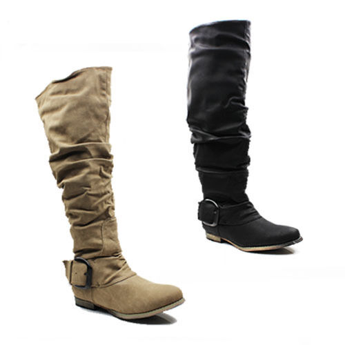 WOMENS CASUAL SLOUCH FASHION LOW HEEL KNEE HIGH BOOTS LADIES SHOES NEW SIZE 3-8