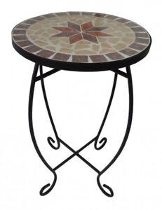 Mosaico-Sgabello-Porta-Fiori-Tavolo-a-Tavolino-Metallo-Rotondo