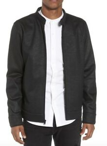 TUNELLUS-Mens-Black-Moto-Collar-Zip-Front-Jacket-L-0610