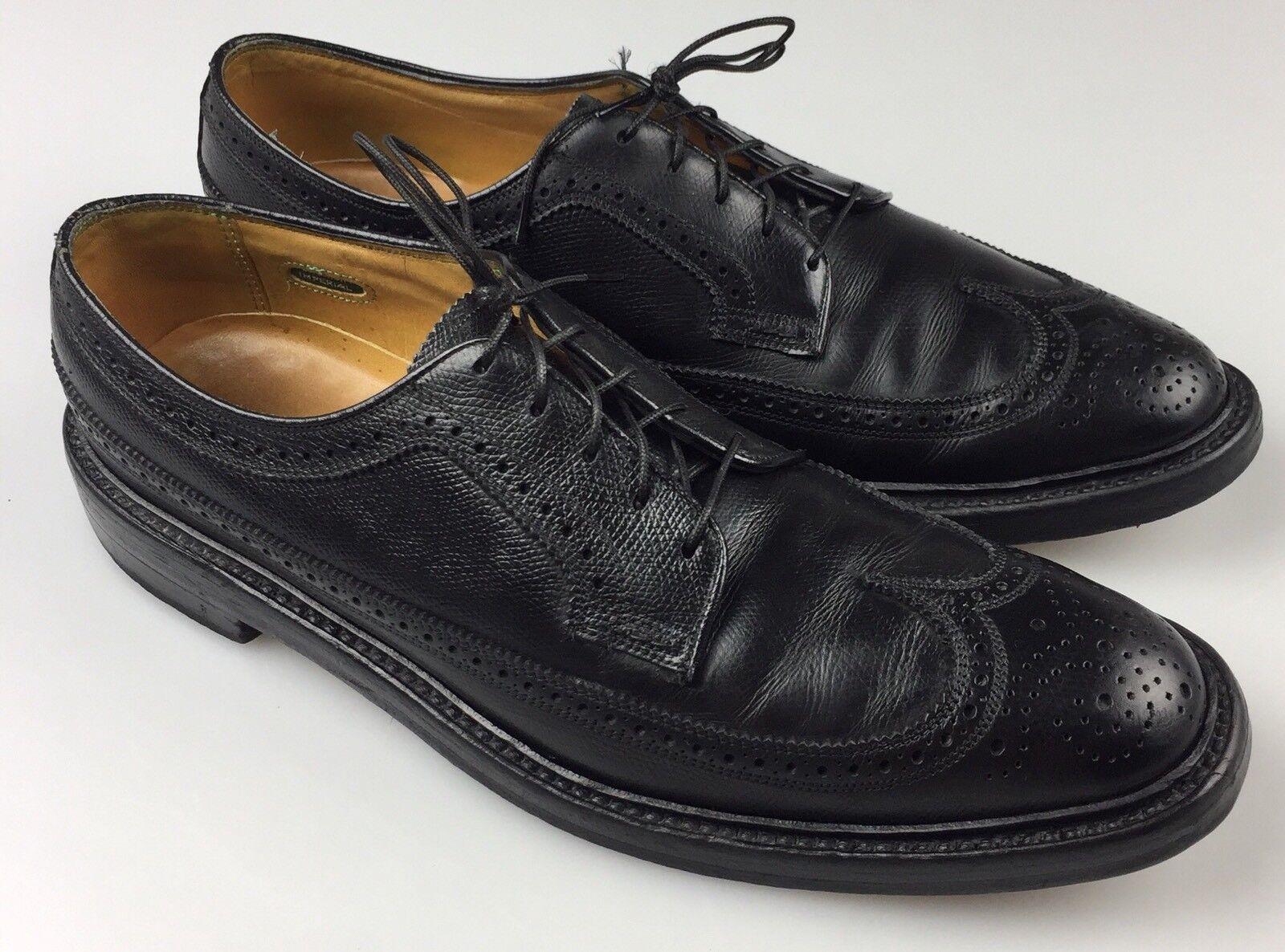 Vintage Florsheim Imperial V Cleat 5 Nail Wingtips Black Leather Men's 10.5 A