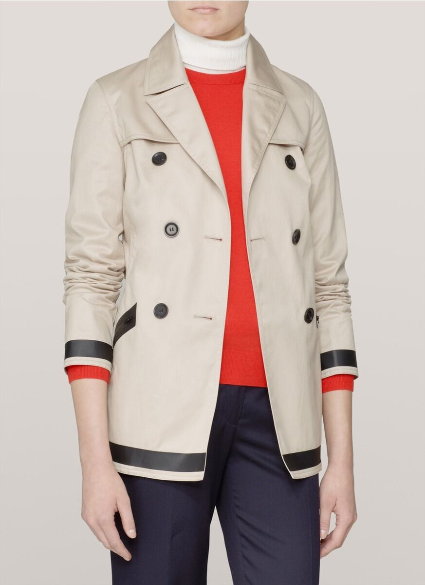 NWT Theory Beige Cliffa Cotton Twill Trench Coat MISSING BELT  – M