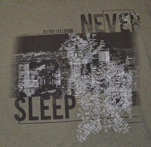 APT 9 Graphic Tee à manches courtes T-shirt à encolure ras-du-cou jamais sommeil New York City