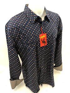 Mens-RODEO-WESTERN-DIAMOND-NAVY-Long-Sleeve-Woven-SNAP-UP-Shirt-Cowboy-109-3XL