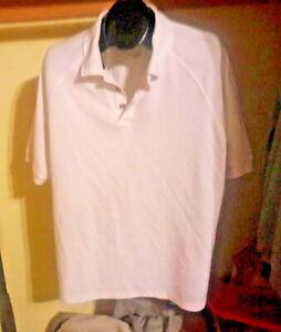 Adidas-Mens-Golf-Polo-Shirt-Climacool-L-White-Green-Striped-Short-Sleeve-Pullove