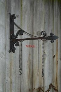 Antique-style-wrought-iron-sign-board-hanging-bracket-shop-sign-house-name-RHB1