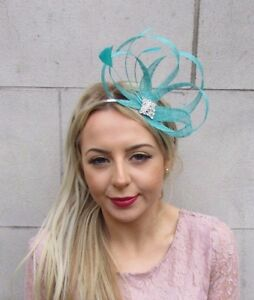 Image is loading Sea-Surf-Green-Turquoise-Silver-Sinamay-Feather-Fascinator- c6857e43d3b
