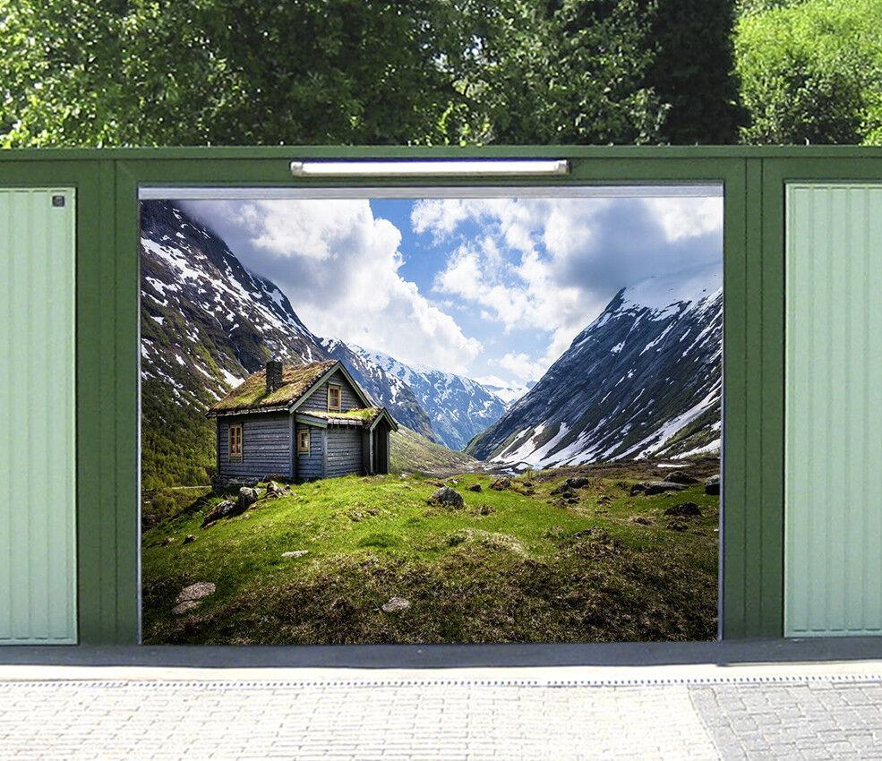 3D Snow Mountain Hut 53 Garage Door Murals Wall Print Wall AJ WALLPAPER UK Lemon