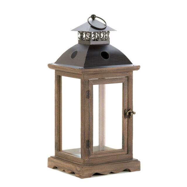 Large Monticello Antiqued Wood Frame Pillar Candle Lantern