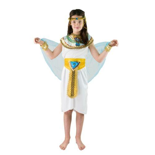 età 4-6 /& 7-9 Bodysocks Faraone Egiziano IMPERATRICE Cleopatra Costume Per Bambini