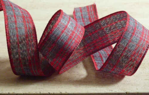 Red Grey Tartan Wire Edge Crystalline Ribbon 1m Xmas Crafts Haberdashery