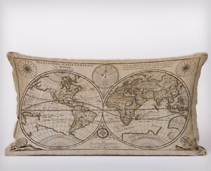 Vintage world map long cushion covers pillow cases home decor or image is loading vintage world map long cushion covers pillow cases gumiabroncs Image collections