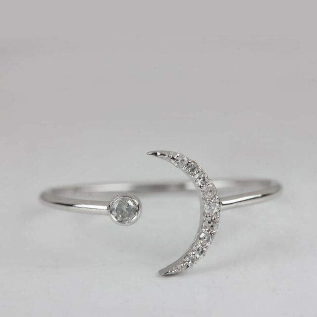 Natural 0.07Ct. Diamond Pave Crescent Moon Open Ring 18k White Gold Fine Jewelry