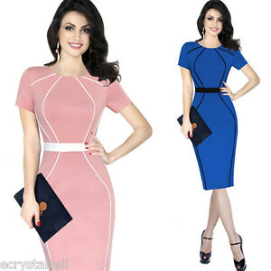 Elegant-Colorblock-Patchwork-Sheath-Work-Office-Business-Bodycon-Pencil-Dress