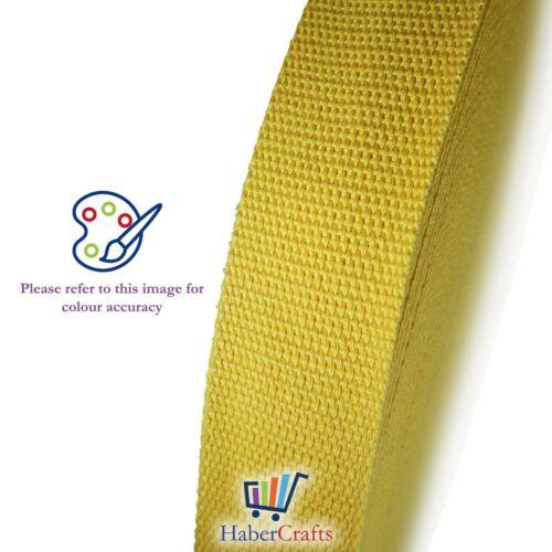 Cinta De Cincha de algodón 25mm Amarillo 1 pulgadas correa de cinturón bolsa de flejado haciendo Delantal